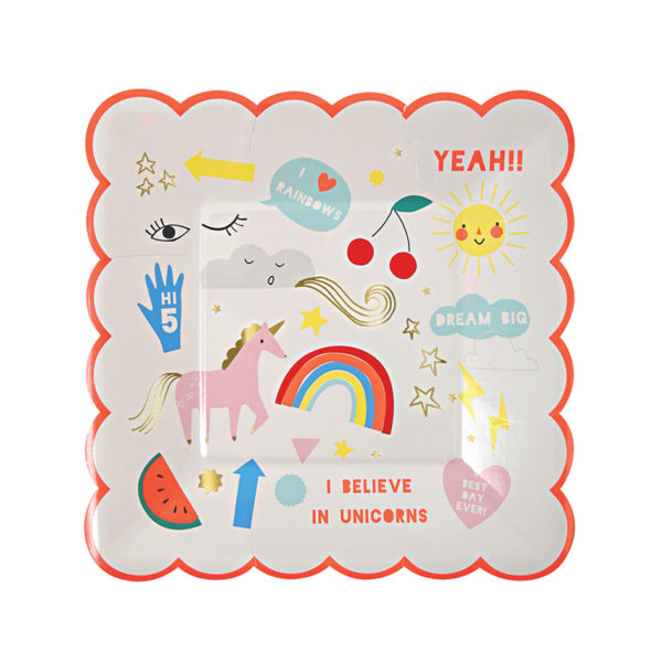 Rainbow & Unicorn Plates Small