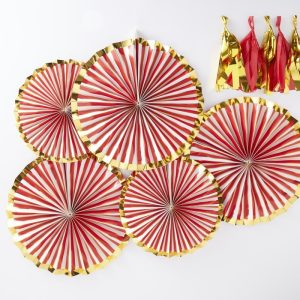 Red & Gold Foiled Pinstripe Candy Fan Decorations