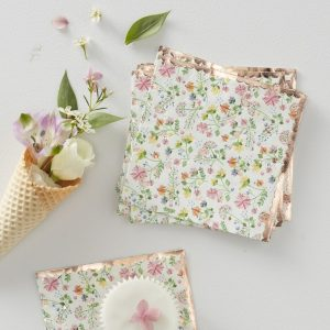 Rose Gold Foiled Floral Paper Napkins