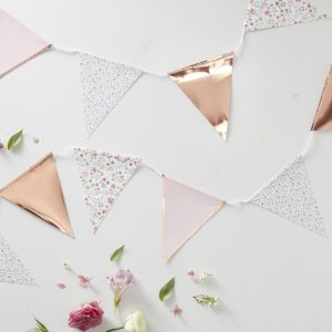 Rose Gold Foiled Floral Print Bunting