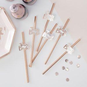 Rose Gold Foiled Paper Straws Team Bride