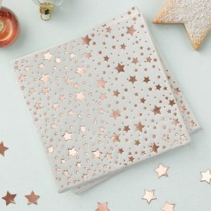 Rose Gold Foiled Star Design Cocktail Napkins