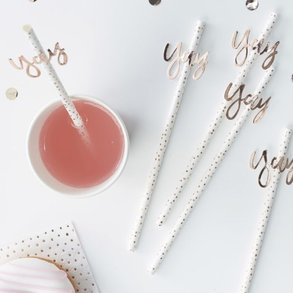 Rose Gold Yay! Paper Straws