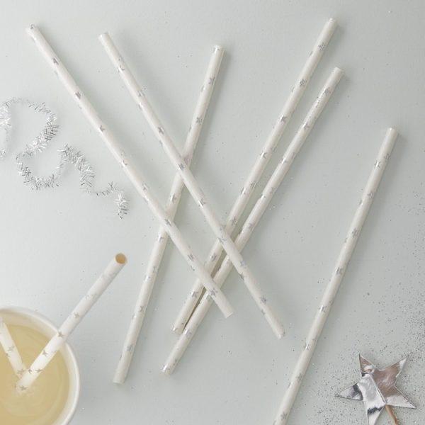 Silver Foiled Star Straws
