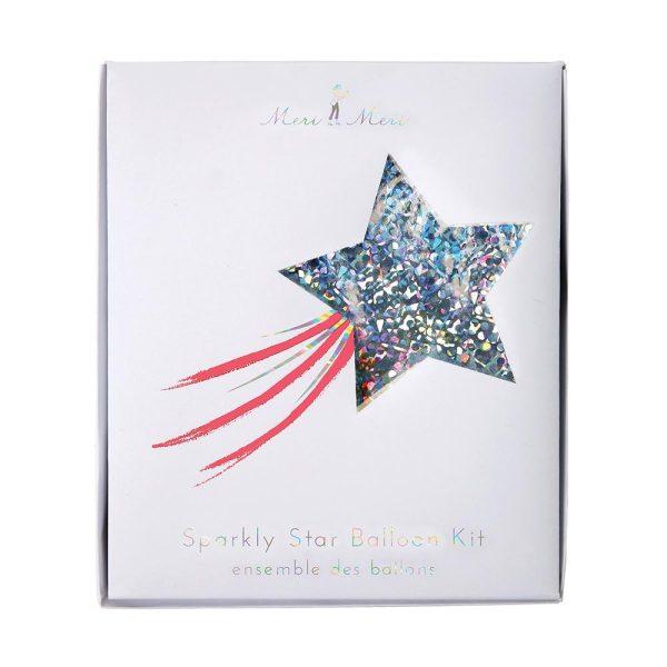 Silver Sparkly Star Balloons