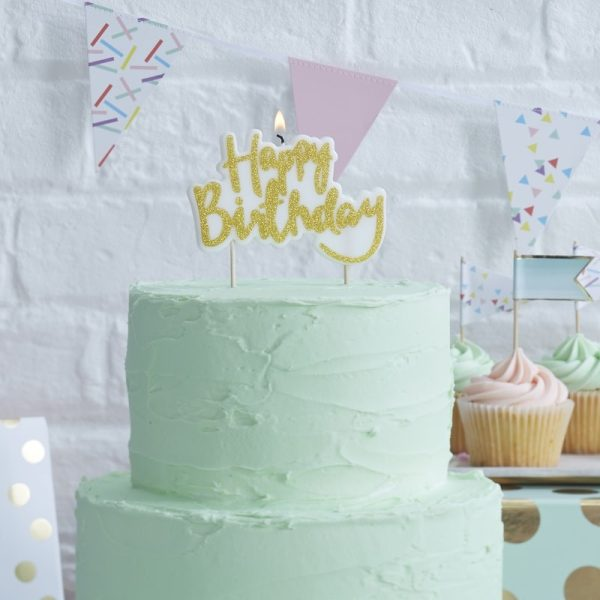 Sparkling Gold Happy Birthday Candle