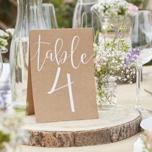 Table Number Tend Cards 1-12