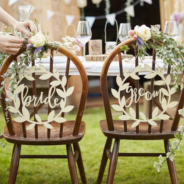 Wooden Bride & Groom Chair Signs Rustic Country