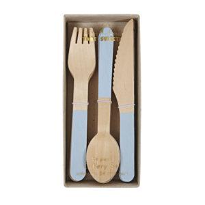 Wooden Cutlery Set Soft Blue