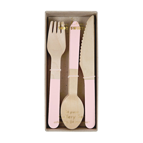 Wooden Cutlery Set Soft Pink