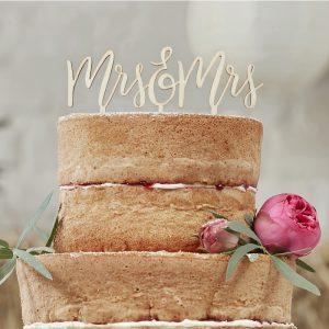 Wooden Mrs & Mrs Cake Topper