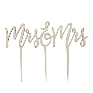 Wooden Mrs & Mrs Cake Topper boho