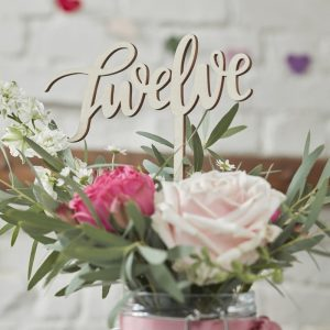 Written Wooden Table Numbers 1-12 Boho