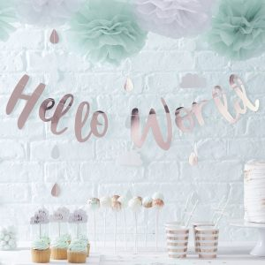 Rose Gold Hello World Bunting