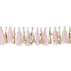 pink and gold tassel garland