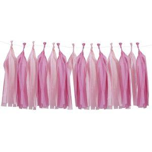 pink tissue paper tassel garland