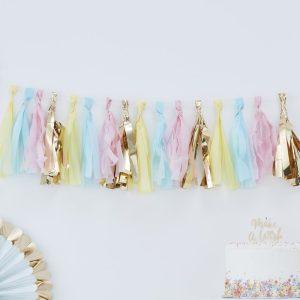 pastel gold tassel garland