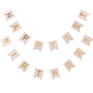 Happy First Birthday Pink and Gold Bunting