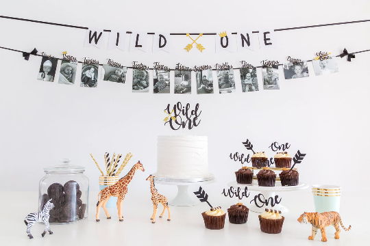 Wild one first birthday cake topper party decoration black and gold