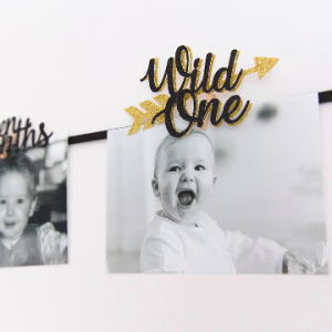 Wild One First Birthday Photo Wall Banner in Black and Gold