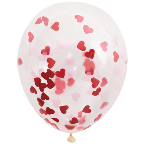 16 Inch Clear Latex Balloons With Heart Confetti