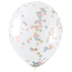 16 Inch Clear Latex Balloons With Pastel Star Confetti