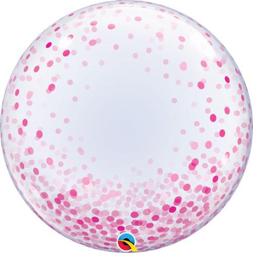 24 Inch Pink Confetti Dots Deco Bubble
