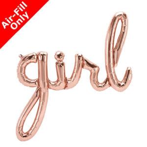 39 Inch Girl Rose Gold Script Foil Balloon
