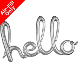 39 Inch Hello Silver Freestyle Phrase Balloon