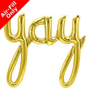 45 Inch Yay Gold Script Foil Balloon