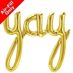 45 Inch Yay Gold Script Foil Balloon