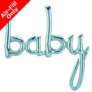 46 Inch Baby Pastel Blue Script Foil Balloon