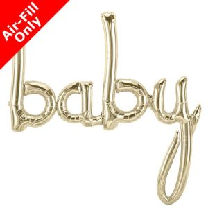 46 Inch Baby White Gold Script Foil Balloon