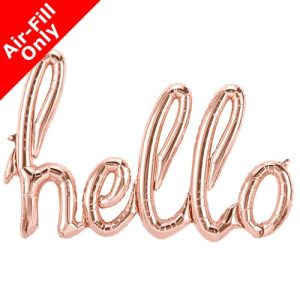 47 Inch Hello Rose Gold Script Foil Balloon