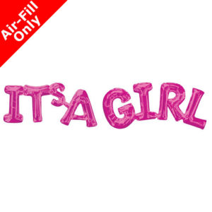 9 Inch Pink Phrase Foil Balloon Pack - It's a Girl