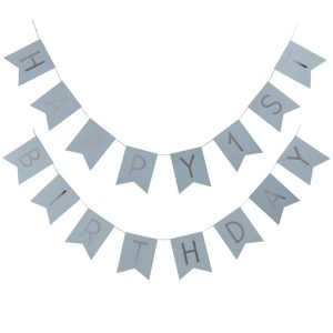 Buy Happy First Birthday Blue & Silver Bunting