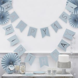 Happy First Birthday Blue & Silver Bunting