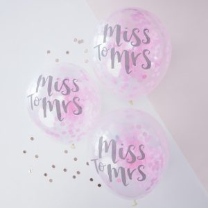 Miss to Mrs Printed Pink Confetti Balloons