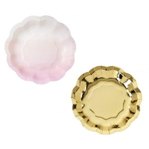 Pink & Gold Paper Plates