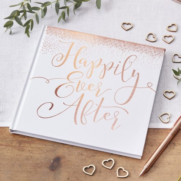 Rose Gold Foiled Happily Ever After Guest Book