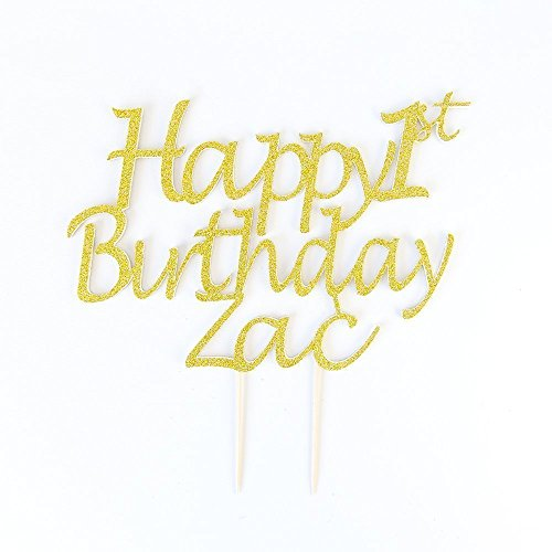 gold glitter Happy Birthday Cake Topper Personalised Name and Age