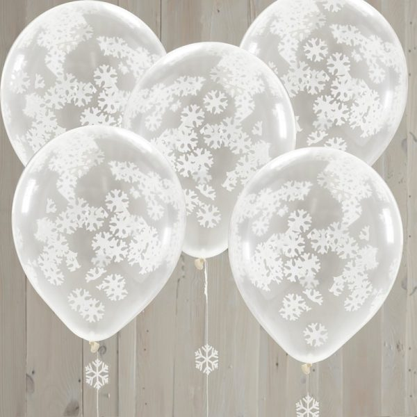 Buy Snowflake Shaped Confetti Balloons Rustic Christmas