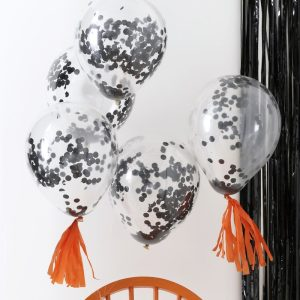 Black Confetti Balloons Pumpkin Party
