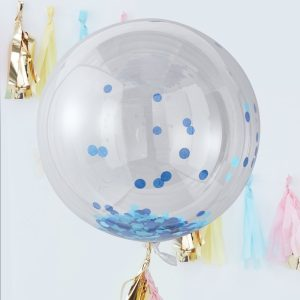 Blue Confetti Orb Balloons Large