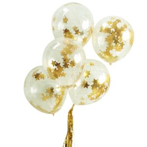 Buy Gold Star Shaped Confetti Fillet Balloons