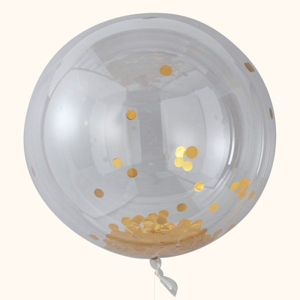 Buy Gold confetti Orb Balloons Large