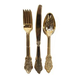 Buy Party Porcelain Gold Cutlery