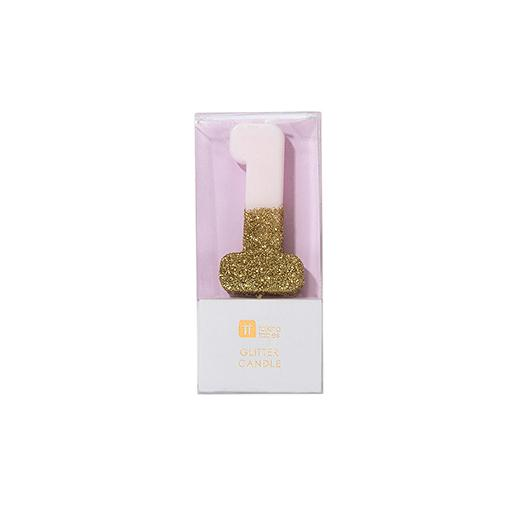 Buy Pink and gold birthday glitter number 1 candle
