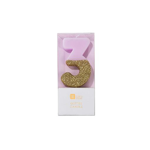 Buy Pink and gold birthday glitter number 3 candle