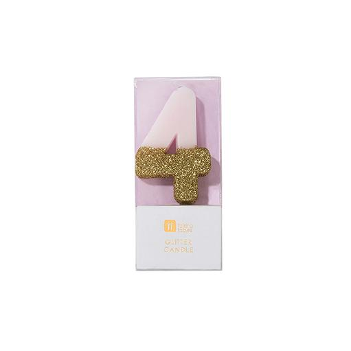 Buy Pink and gold birthday glitter number 4 candle